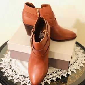 Franco Sarto Leather Ankle Boots, Cognac (New)